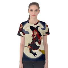 Witch Witchcraft Broomstick Broom Women s Cotton Tee by Celenk