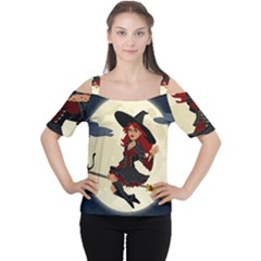 Witch Witchcraft Broomstick Broom Cutout Shoulder Tee by Celenk