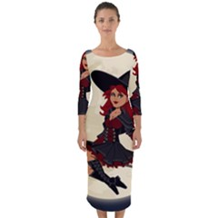 Witch Witchcraft Broomstick Broom Quarter Sleeve Midi Bodycon Dress by Celenk