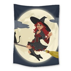Witch Witchcraft Broomstick Broom Medium Tapestry by Celenk