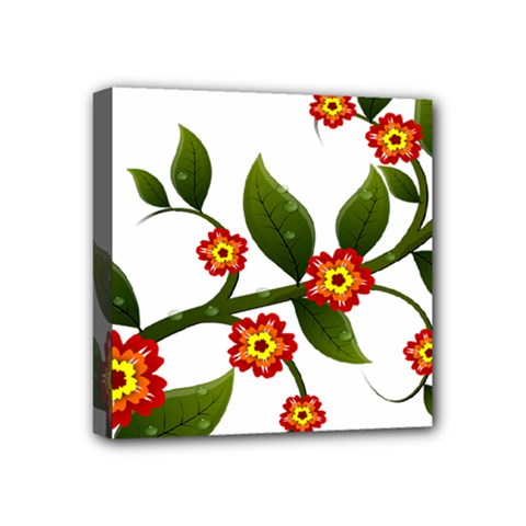Flower Branch Nature Leaves Plant Mini Canvas 4  X 4  by Celenk