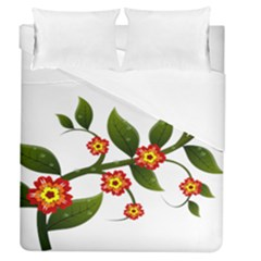 Flower Branch Nature Leaves Plant Duvet Cover (queen Size) by Celenk
