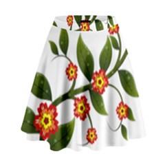 Flower Branch Nature Leaves Plant High Waist Skirt by Celenk