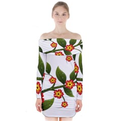 Flower Branch Nature Leaves Plant Long Sleeve Off Shoulder Dress by Celenk