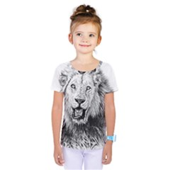 Lion Wildlife Art And Illustration Pencil Kids  One Piece Tee by Celenk