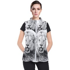 Lion Wildlife Art And Illustration Pencil Women s Puffer Vest by Celenk
