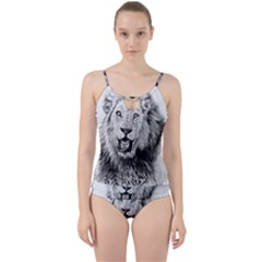 Lion Wildlife Art And Illustration Pencil Cut Out Top Tankini Set by Celenk