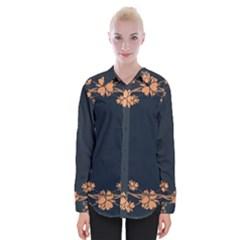 Floral Vintage Royal Frame Pattern Womens Long Sleeve Shirt