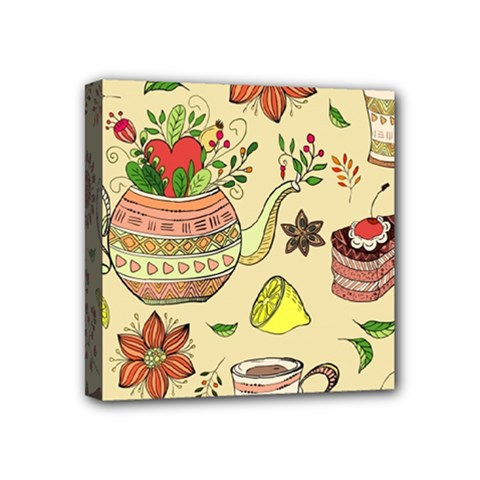 Colored Afternoon Tea Pattern Mini Canvas 4  X 4  by allthingseveryday