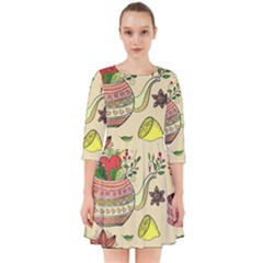 Colored Afternoon Tea Pattern Smock Dress by allthingseveryday