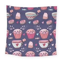Afternoon Tea And Sweets Square Tapestry (large) by allthingseveryday