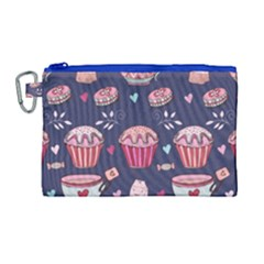 Afternoon Tea And Sweets Canvas Cosmetic Bag (large)