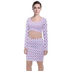 Pixel Hearts Long Sleeve Crop Top & Bodycon Skirt Set