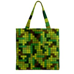Tetris Camouflage Forest Grocery Tote Bag by jumpercat