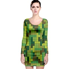 Tetris Camouflage Forest Long Sleeve Bodycon Dress