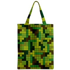 Tetris Camouflage Forest Zipper Classic Tote Bag by jumpercat