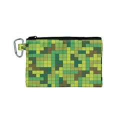 Tetris Camouflage Forest Canvas Cosmetic Bag (small)