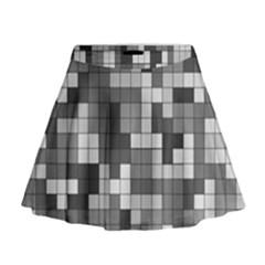 Tetris Camouflage Urban Mini Flare Skirt