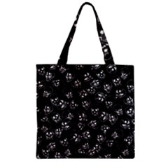 A Lot Of Skulls Black Zipper Grocery Tote Bag by jumpercat
