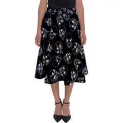 A Lot Of Skulls Black Perfect Length Midi Skirt