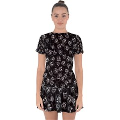 A Lot Of Skulls Black Drop Hem Mini Chiffon Dress
