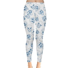 A Lot Of Skulls Blue Leggings  by jumpercat