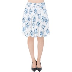 A Lot Of Skulls Blue Velvet High Waist Skirt by jumpercat
