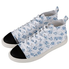 A Lot Of Skulls Blue Men s Mid Top Canvas Sneakers by jumpercat