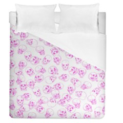 A Lot Of Skulls Pink Duvet Cover (queen Size) by jumpercat