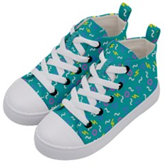 Retro Wave 4 Kid s Mid Top Canvas Sneakers by jumpercat