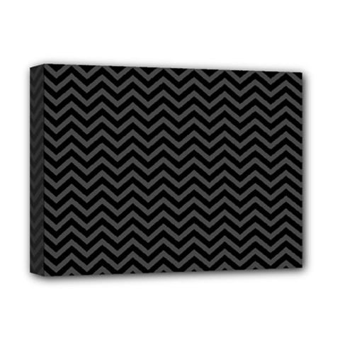 Dark Chevron Deluxe Canvas 16  X 12   by jumpercat