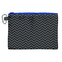 Dark Chevron Canvas Cosmetic Bag (xl) by jumpercat