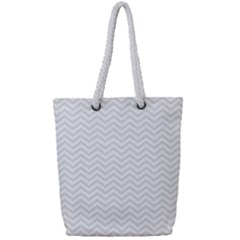 Light Chevron Full Print Rope Handle Tote (small) by jumpercat