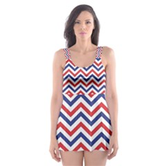 Navy Chevron Skater Dress Swimsuit by jumpercat