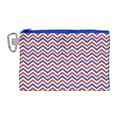 Navy Chevron Canvas Cosmetic Bag (large) by jumpercat