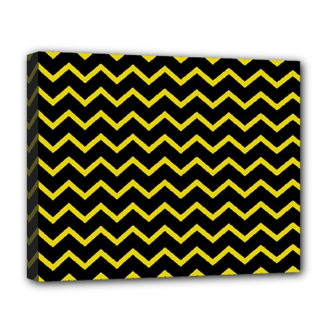 Yellow Chevron Deluxe Canvas 20  X 16   by jumpercat