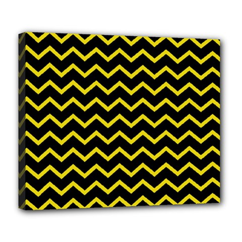 Yellow Chevron Deluxe Canvas 24  X 20   by jumpercat