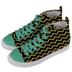 Yellow Chevron Women s Mid Top Canvas Sneakers by jumpercat