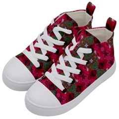 Christmas Colors Wrapping Paper Design Kid s Mid Top Canvas Sneakers by Fractalsandkaleidoscopes