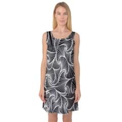 Fractal Sketch Dark Sleeveless Satin Nightdress by jumpercat