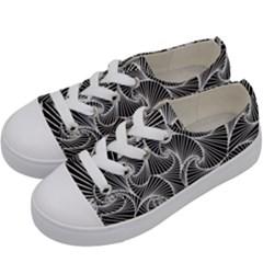 Fractal Sketch Dark Kids  Low Top Canvas Sneakers by jumpercat
