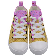 Strawberry Ice Cream Kid s Mid Top Canvas Sneakers