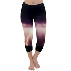 Storm Weather Lightning Bolt Capri Winter Leggings