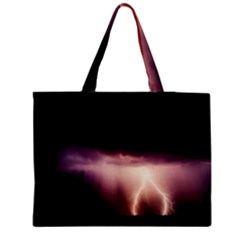 Storm Weather Lightning Bolt Zipper Medium Tote Bag