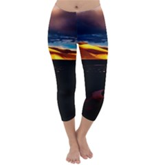 India Sunset Sky Clouds Mountains Capri Winter Leggings