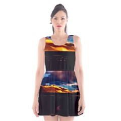 India Sunset Sky Clouds Mountains Scoop Neck Skater Dress