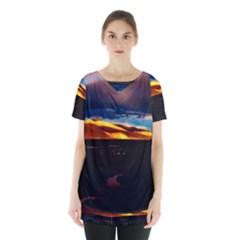 India Sunset Sky Clouds Mountains Skirt Hem Sports Top