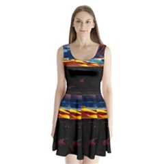 India Sunset Sky Clouds Mountains Split Back Mini Dress