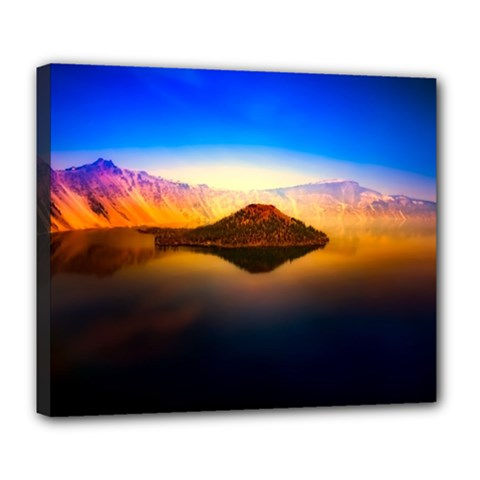 Crater Lake Oregon Mountains Deluxe Canvas 24  X 20