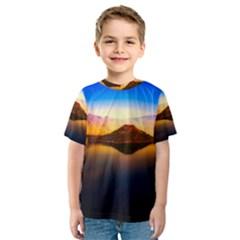 Crater Lake Oregon Mountains Kids  Sport Mesh Tee